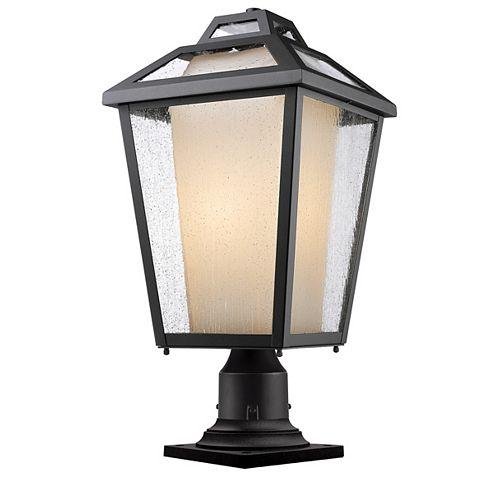 1 lumière noire pour montage sur pilier extérieur avec verre transparent et à opale mate - 11 pouces