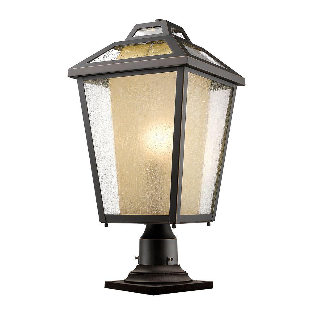 Filament Design Plafonnier d'extérieur à 1 ampoule au fini bronze huilé avec verre transparent et glacé - 11 pouces
