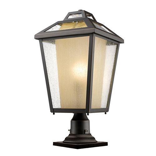 Plafonnier d'extérieur à 1 ampoule au fini bronze huilé avec verre transparent et glacé - 11 pouces