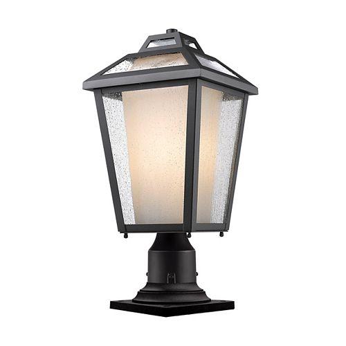 Projecteur extérieur à 1 ampoule noire pour montage sur pilier avec verre transparent et à opale mat - 9 pouces