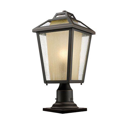 Plafonnier extérieur à 1 ampoule au fini bronze huilé avec verre transparent et glacé - 9 pouces