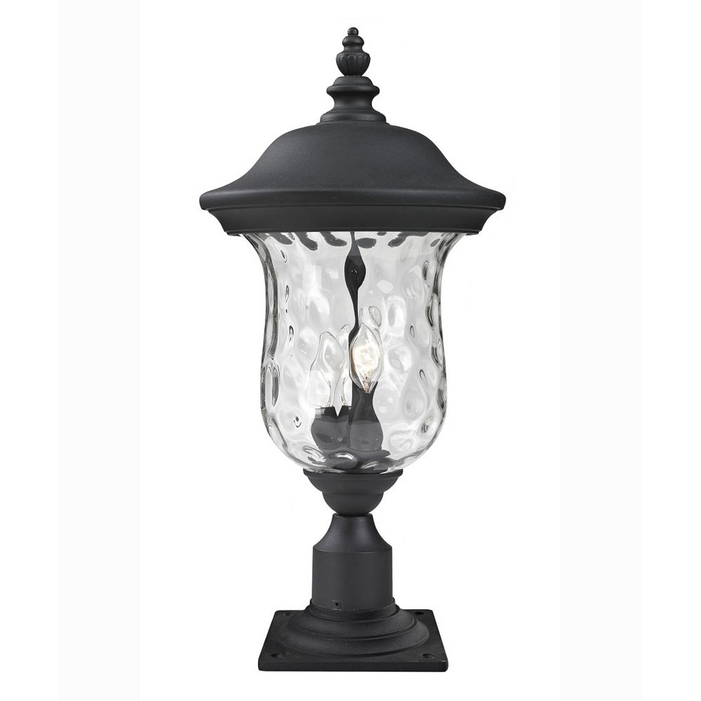 Filament Design 3-Light Black Outdoor Pier Mount Light with Clear Water Glass - 12.375 inch