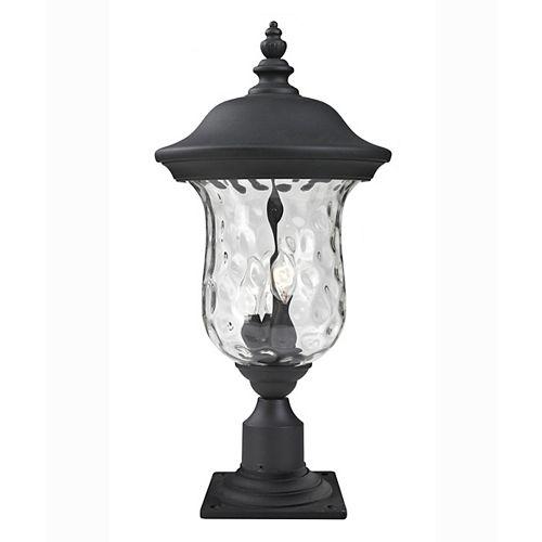 Lampadaire extérieur à 3 ampoules noir avec verre d'eau clair