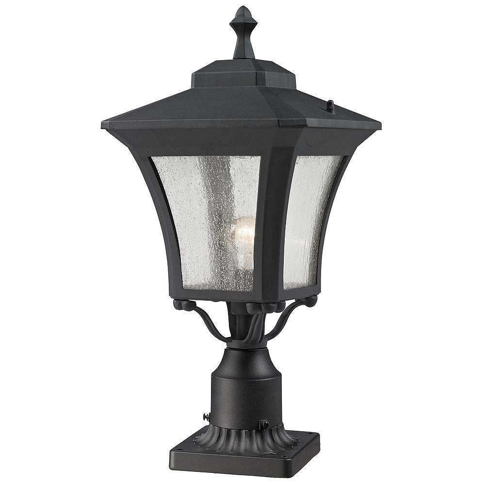Filament Design 1 lumière sable noir pour montage en plein air, montage sur pilier avec verre à glaçons clair - 10,125 pouces