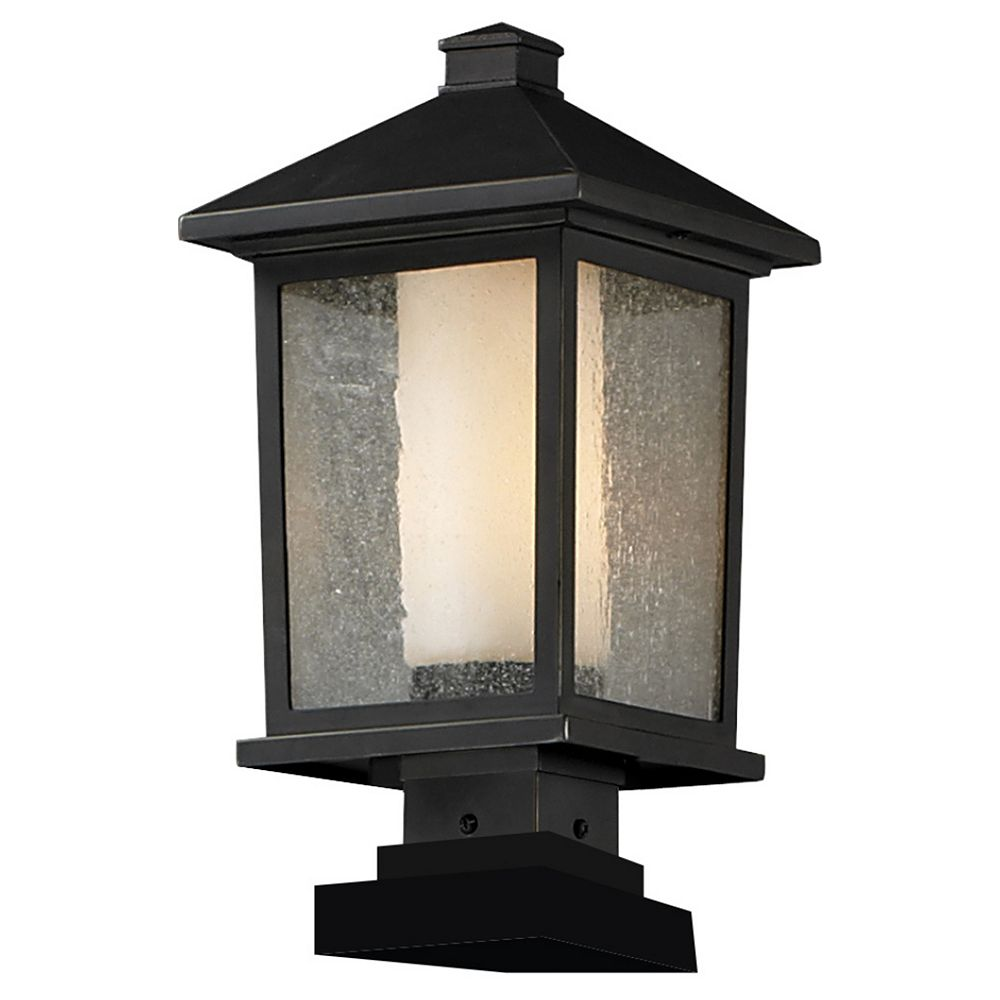 Filament Design 1-Light Oil Rubbed Bronze Outdoor Pier Mount Light with Clear Seedy and Matte Opal Glass - 9.5 inch
