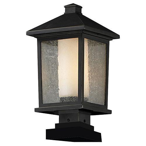 Lampadaire extérieur à 1 ampoule au fini bronze huilé avec verre transparent à glaçons et opale mate - 9,5 pouces