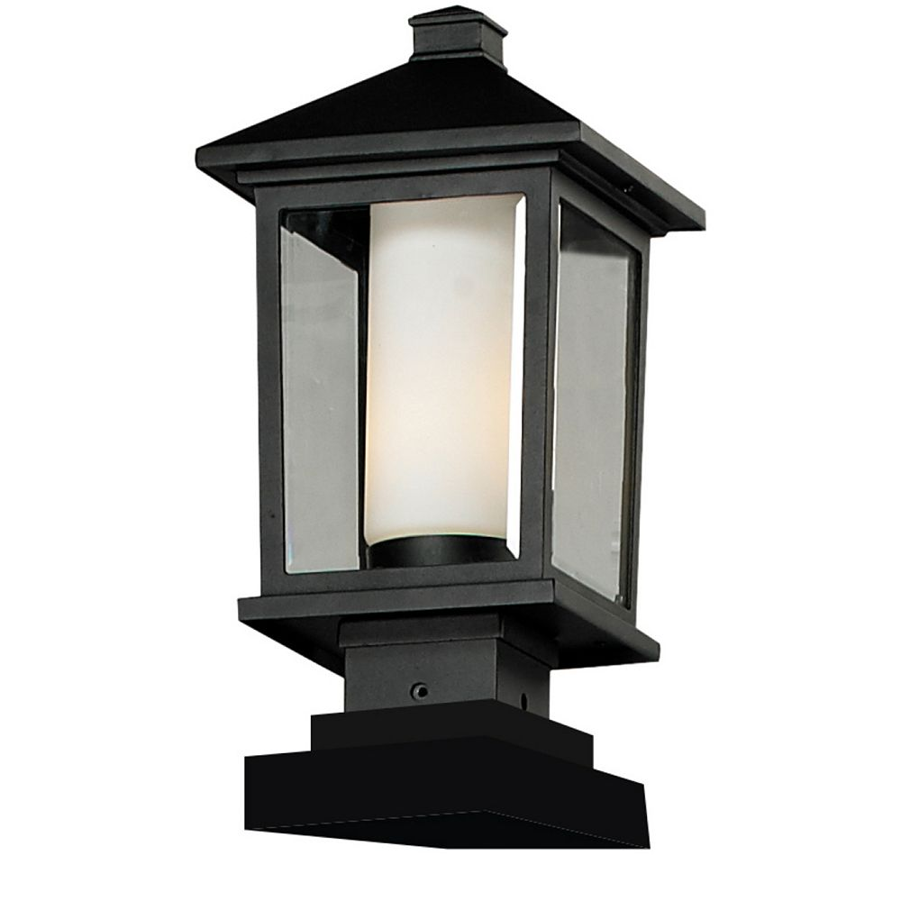 Filament Design 1-Light Black Outdoor Pier Mount Light with Clear Beveled and Matte Opal Glass - 8.125 inch