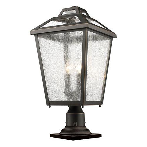 Lampadaire d'extérieur à 3 ampoules au fini bronze huilé avec verre à gouttes transparent - 11 pouces