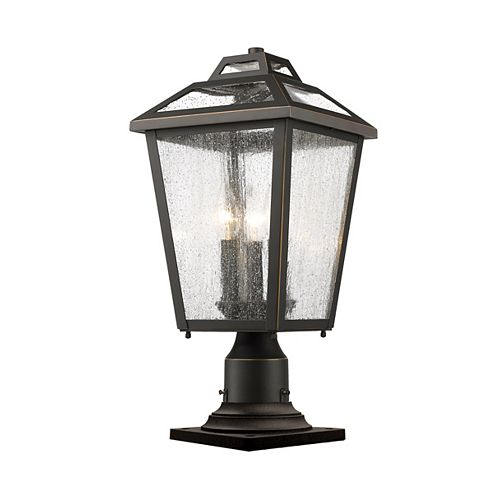 Lampadaire d'extérieur à 3 ampoules au fini bronze huilé avec verre à gouttes transparent