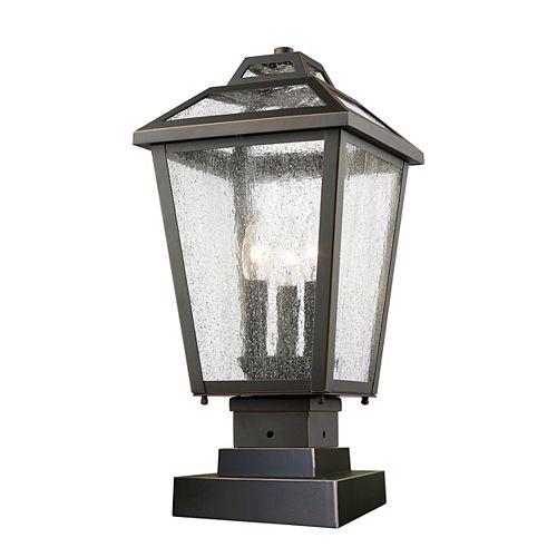 Support pour pilier extérieur à 3 lumières, bronze huilé, avec verre à gouttes transparent