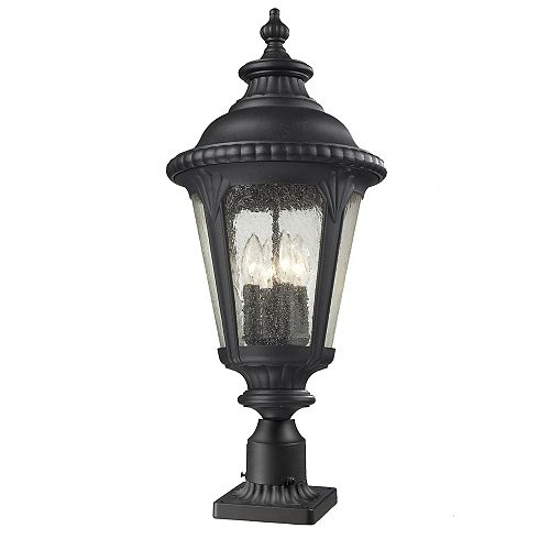 Lampadaire extérieur à 4 ampoules noir avec verre en verre transparent - 11,875 pouces