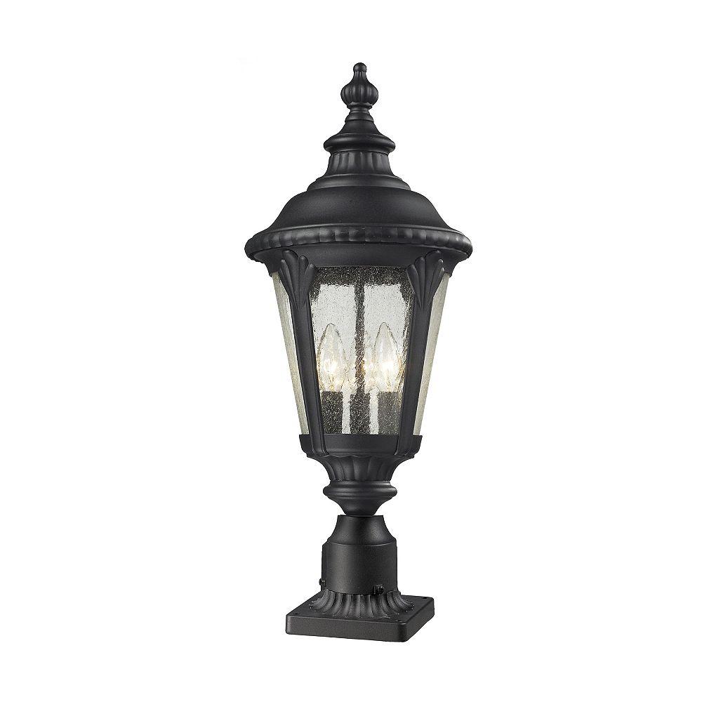 Filament Design Lampadaire extérieur à 3 ampoules, noir, verre transparent à paillettes, 9,75 pouces