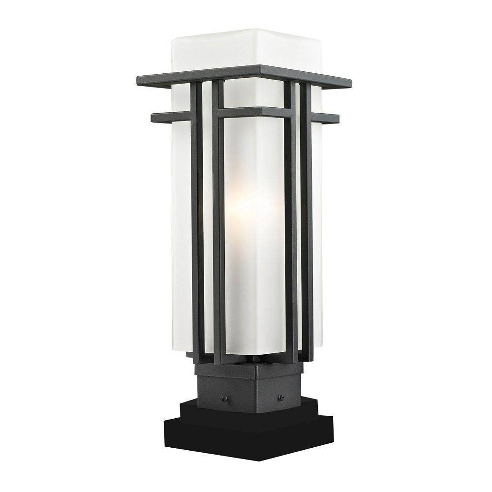 Filament Design 1-Light Black Outdoor Pier Mount Light with Matte Opal Glass - 6.63 inch