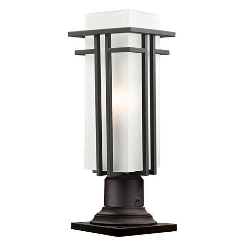 Lampadaire extérieur à 1 ampoule d'extérieur au fini bronze huilé avec verre opale mat - 6,625 pouces