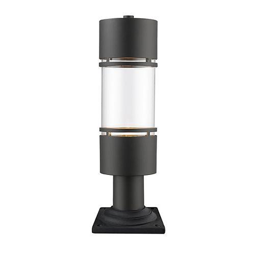 Plafonnier extérieur à 1 ampoule bronze huilé avec verre transparent