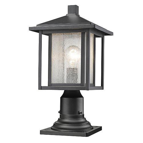 1 lumière noire pour montage extérieur de pilier avec verre à glaçons clair