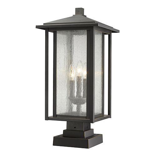 Support pour pilier extérieur à 3 lumières, bronze huilé, avec verre à gouttes transparent - 11 pouces