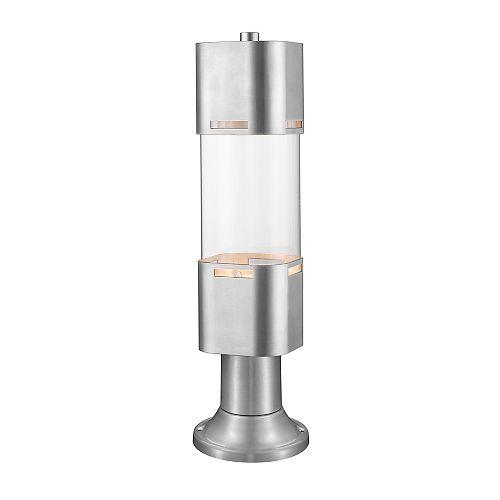 Plafonnier d'extérieur à 1 ampoule en aluminium brossé avec verre transparent, 5 po