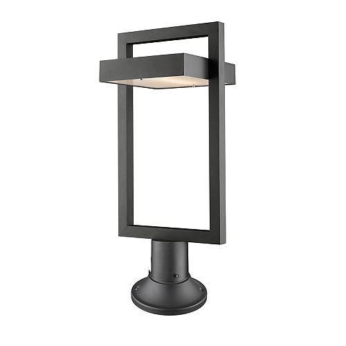 Projecteur extérieur à 1 ampoule LED noir avec verre dépoli - 10,5 pouces