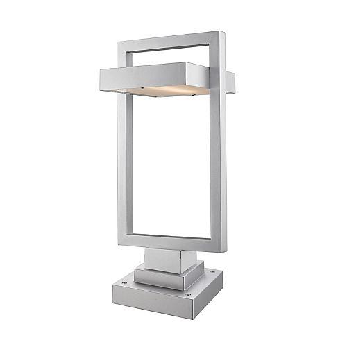 1 lumière pour montage extérieur avec verre dépoli, argent, 10,5 pouces