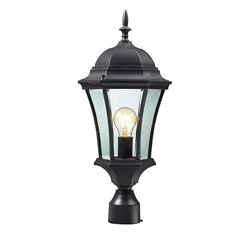 Lampadaire extérieur à 1 ampoule extensible noir avec verre biseauté transparent - 9,5 pouces