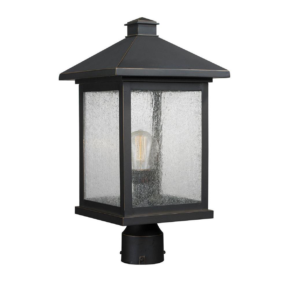 Filament Design Lampadaire extérieur à 1 ampoule d'extérieur au fini bronze huilé avec verre à gouttes transparent