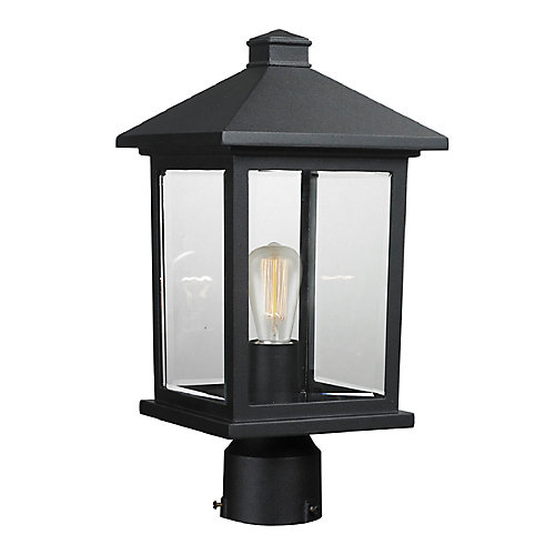 1-Light Black Outdoor Dimmable Post Mount Light with Clear Beveled Glass Shade