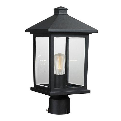 Luminaire extérieur à 1 ampoule ajustable noir avec abat-jour en verre biseauté
