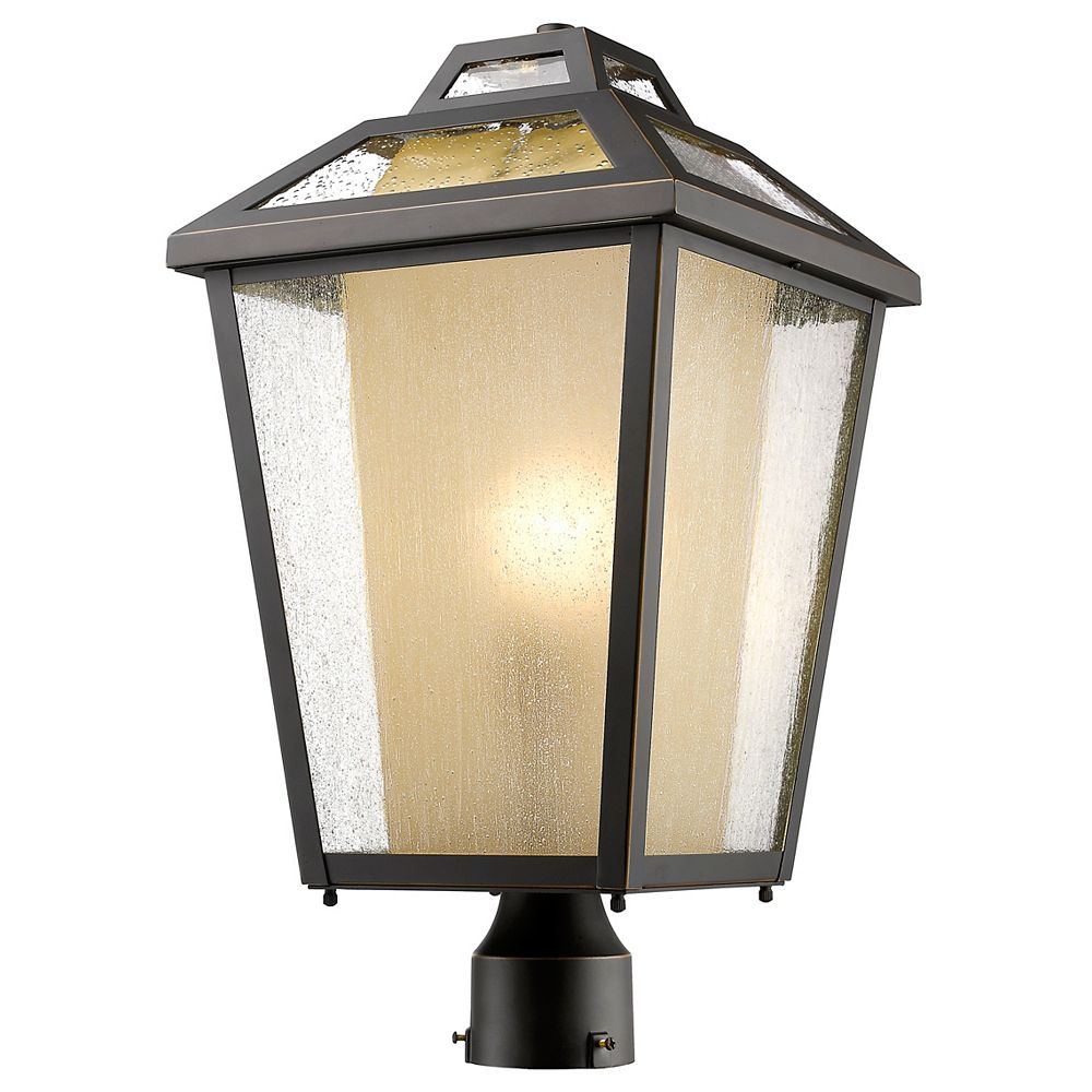 Filament Design 1-Light Oil Rubbed Bronze Outdoor Post Mount Light with Clear Seedy and Tinted Glass