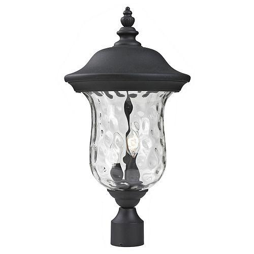 Lampadaire extérieur à 2 ampoules, noir, avec verre d'eau clair - 10 pouces