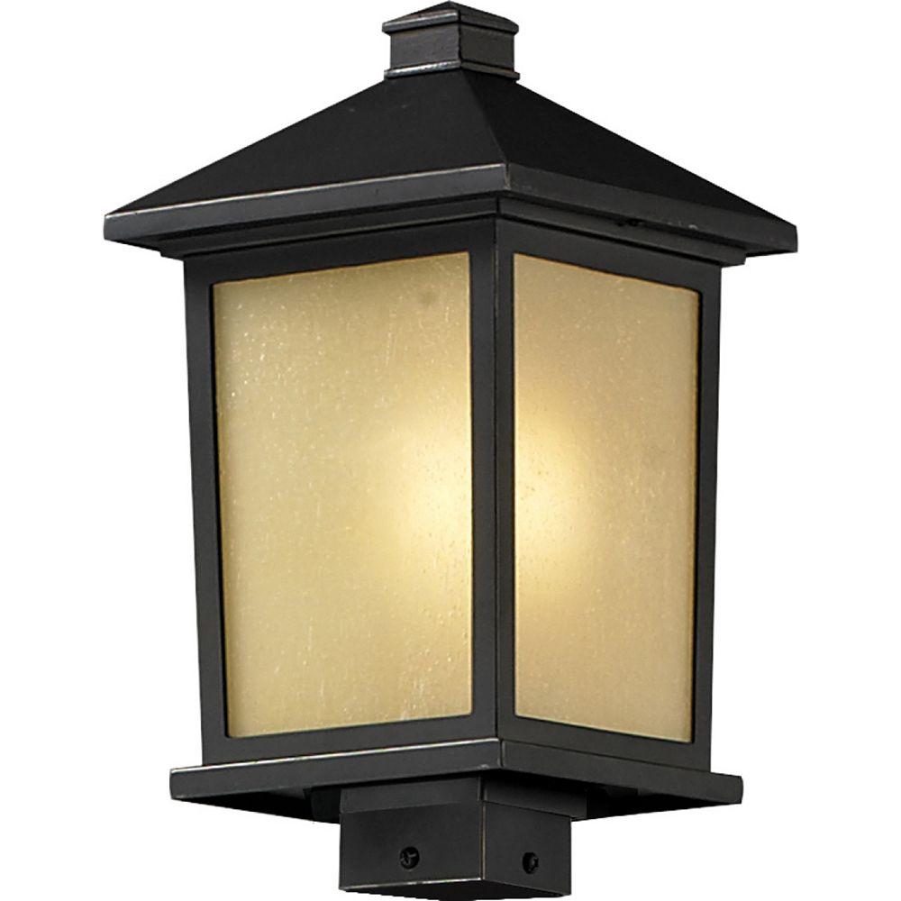 Filament Design Lampadaire extérieur à 1 ampoule d'extérieur au fini bronze huilé avec verre à gouttes teinté - 9,5 pouces