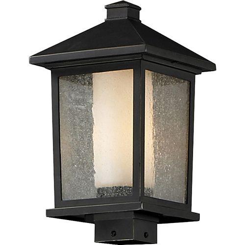 Lampadaire extérieur à 1 ampoule d'extérieur au fini bronze huilé avec verre transparent à glu et opalin