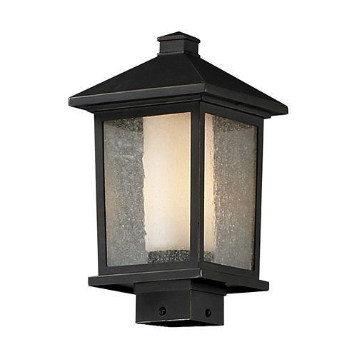 Lampadaire extérieur à 1 ampoule d'extérieur au fini bronze huilé avec verre transparent à ailettes et opale mat