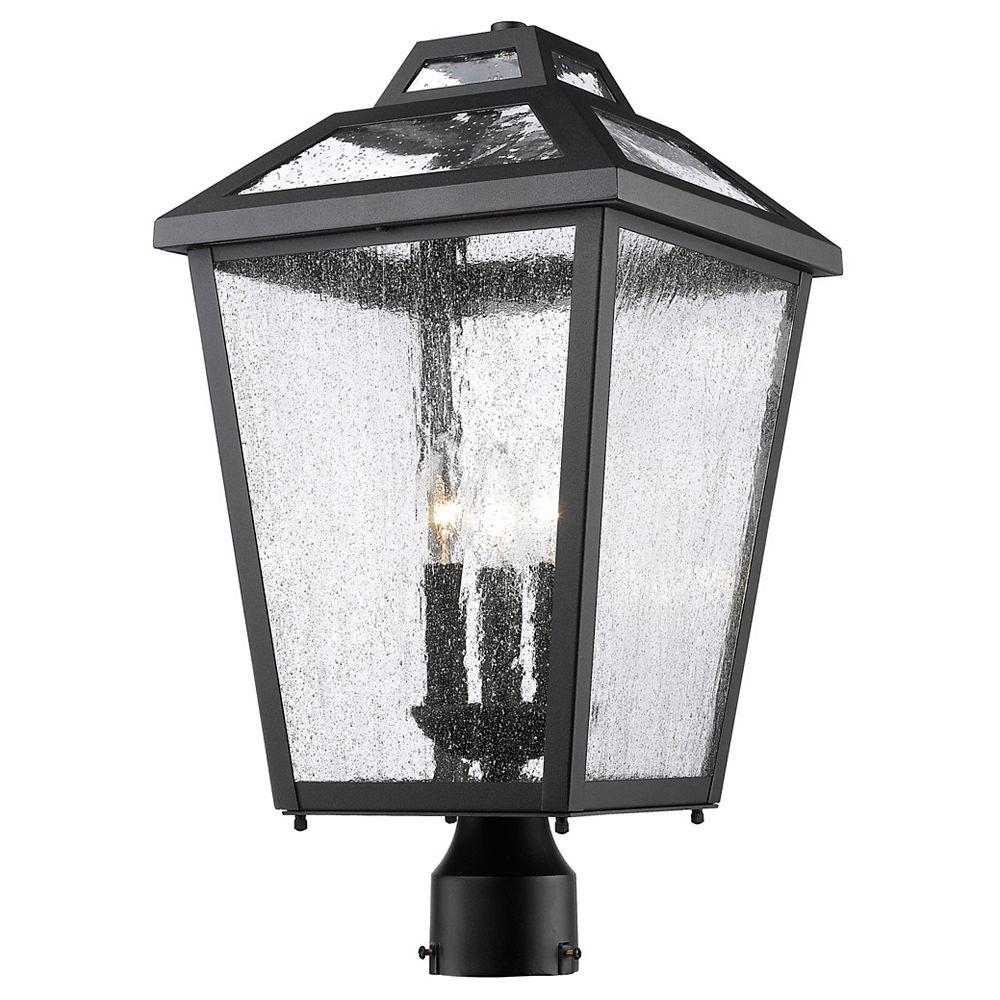 Filament Design Lampadaire extérieur à 3 ampoules pour extérieur, noir, verre incolore transparent