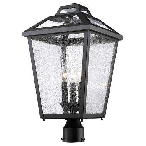 Lampadaire extérieur à 3 ampoules pour extérieur, noir, verre incolore transparent