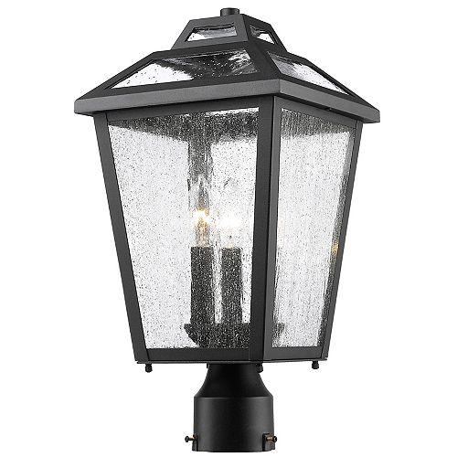 Lampadaire extérieur à 3 ampoules pour extérieur, noir, verre incolore - 9 pouces
