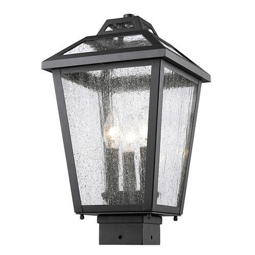 Colonne extérieure à 3 ampoules noir pouvant être obscurci avec verre à gouttes transparent
