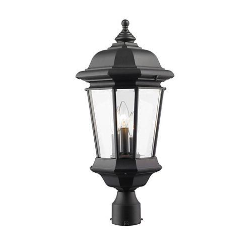 Lampadaire extérieur à 3 ampoules, noir, verre clair biseauté