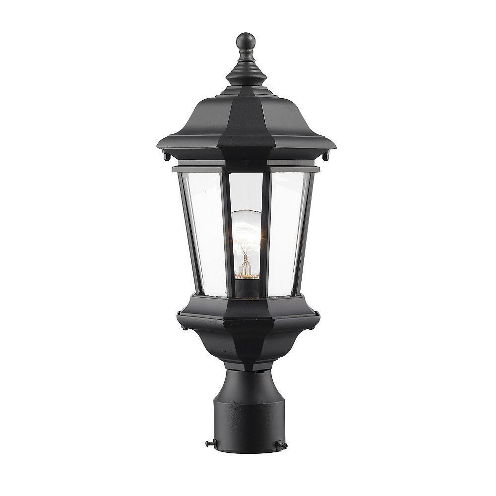 Filament Design Lampadaire extérieur à 1 ampoule d'extérieur noir avec verre biseauté transparent