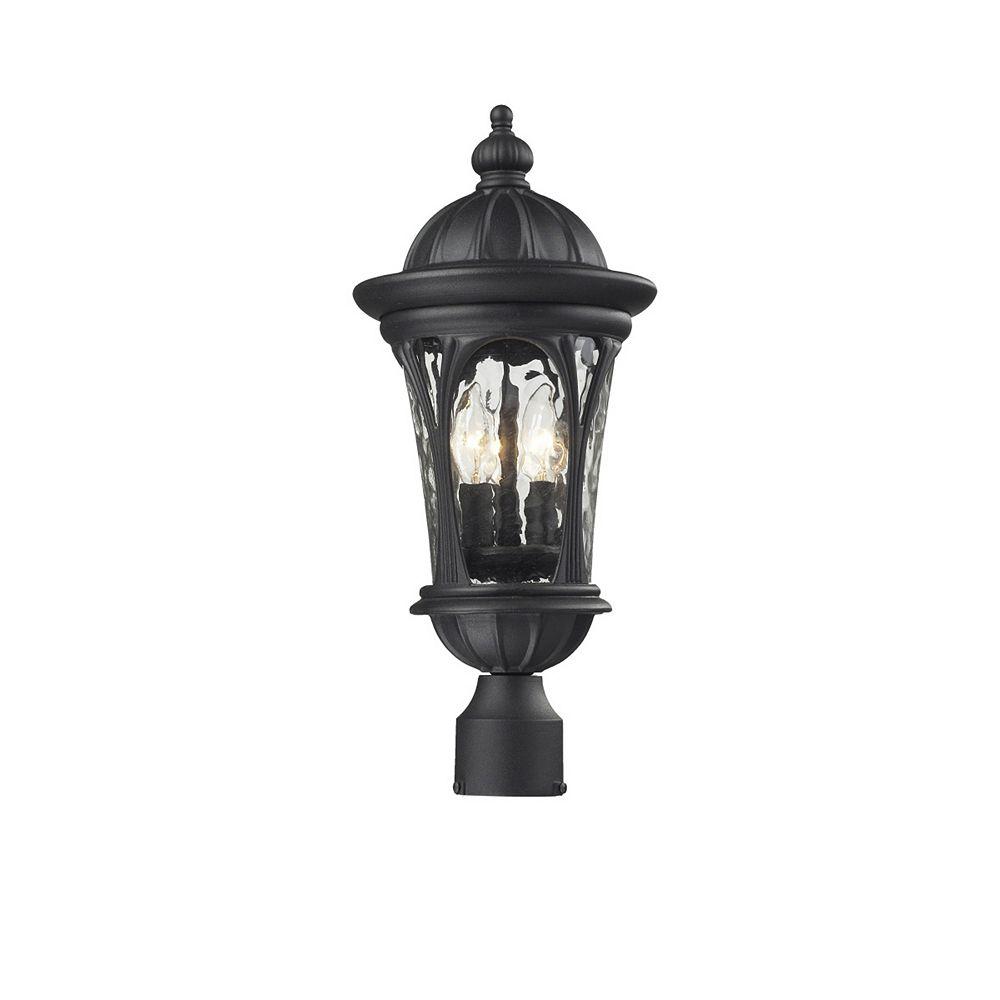 Filament Design Lampadaire extérieur noir à 3 ampoules avec verre d'eau - 9 pouces