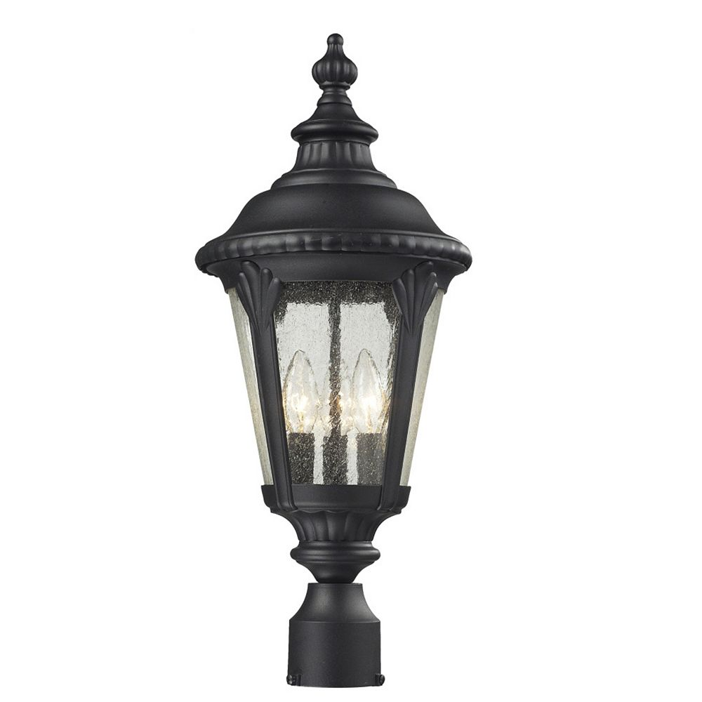 Filament Design 3-Light Black Outdoor Post Mount Light with Clear Seedy Glass - 9.75 inch