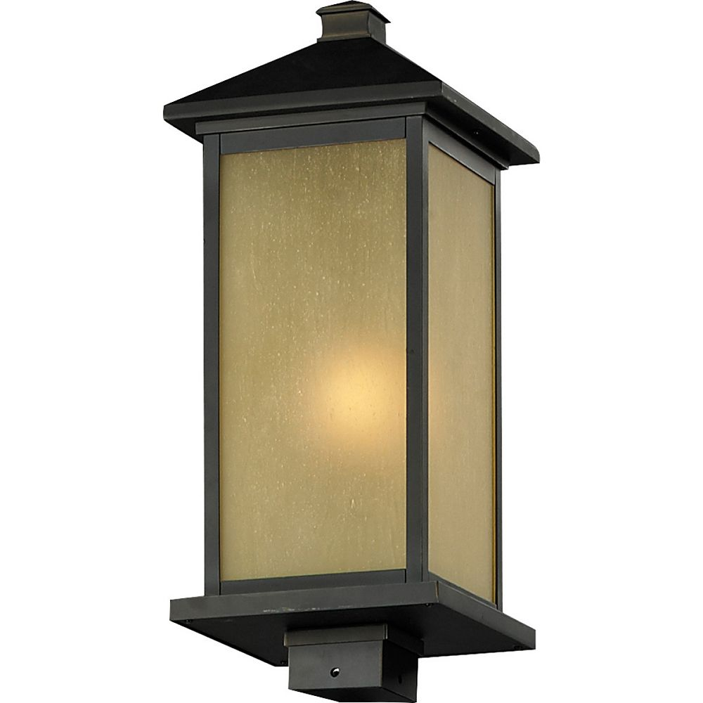 Filament Design 1-Light Oil Rubbed Bronze Outdoor Post Mount Light with Tinted Seedy Glass