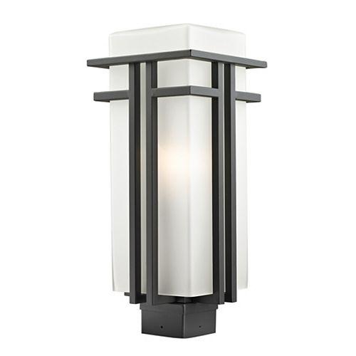 Lampadaire extérieur à 1 ampoule d'extérieur bronze frotté avec verre opale mat - 7,75 pouces