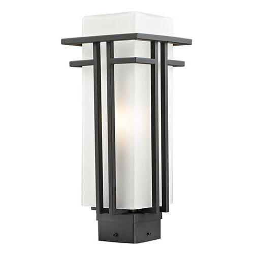 Lampadaire extérieur à 1 ampoule d'extérieur à intensité variable, bronze frotté et verre opale mat, 6,625 pouces