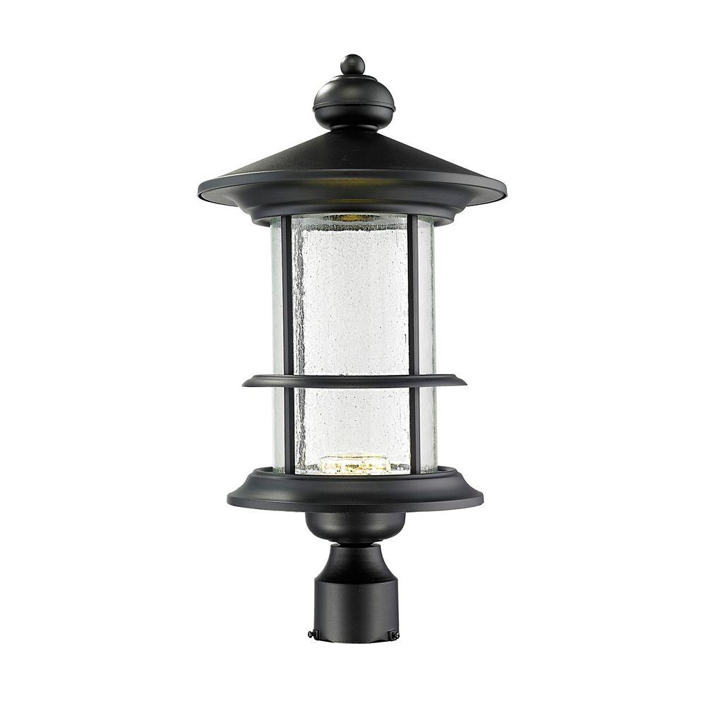 Filament Design Lampadaire extérieur à 1 ampoule d'extérieur noir avec verre à gouttes transparent - 11,625 pouces