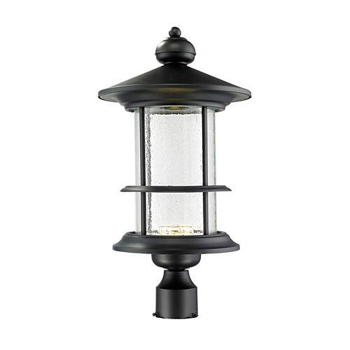 Lampadaire extérieur à 1 ampoule d'extérieur noir avec verre à gouttes transparent - 11,625 pouces