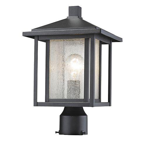 Lampadaire extérieur à 1 ampoule extensible, noir, verre transparent à glaces - 9 pouces