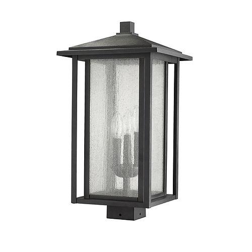 Lampadaire extérieur à 3 ampoules noir à montage sur poteau avec verre à gouttes transparent