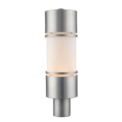 Lampadaire extérieur à 1 ampoule d'extérieur avec abat-jour en aluminium brossé et verre opale mat - 5,88 pouces