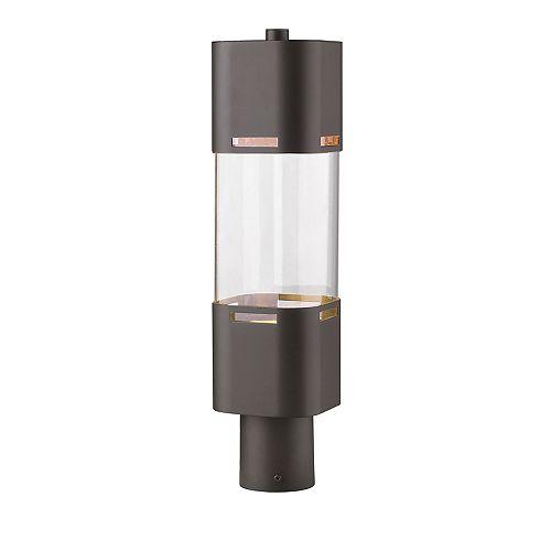 Lampadaire extérieur à 1 ampoule bronze foncé avec verre transparent, 5 po